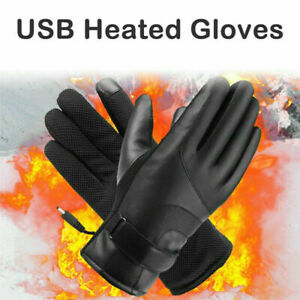 Electric USB Heated Gloves Winter Warmer Hand Outdoor Motorcycle Mittens -Black