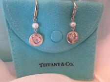 Tiffany & Co. Nature Rose Pearl Drop Dangle Sterling Silver Earrings