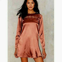 NEW NWT $80 ASOS GLAMOROUS CROSS FOR WORDS SATIN A-LINE DRESS PINK COPPER XS
