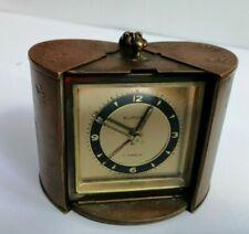 Art Deco Europa 7 jewel brass travelling alarm clock - working well!!