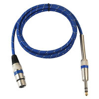 "XLR Female to 1/4"" 6.35mm TRS Male Balanced Stereo Audio Mic OFC Cable 1m"
