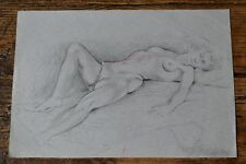 Reclining Nude Pencil Sketch Art Drawing on Paper Signed Pal Fried