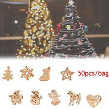 50Pcs Carve Natural Wood Chip Ornaments Christmas Decoration Craft,