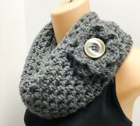 Luxury Crochet Scarf Infinity Cowl Handmade Knit Flower Pin Gray Chunky