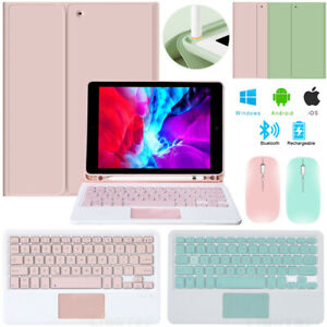 """For iPad 7th 8th Generation 10.2"""" Bluetooth Mouse+Touchpad Keyboard+Leather Case"""
