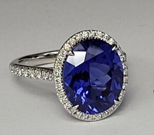 Tiffany&Co Soleste Large 7.8ct Oval Tanzanite Ring With DIAMONDS in PT950