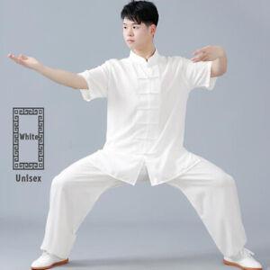 Linen Martial Arts Tai Chi Uniform Kung Fu Wingchun Suit Short Sleeves Outfit