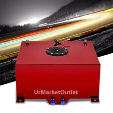 "Red Aluminum 15 Gallon/57L Fuel Cell Tank/Black Cap Door/2.0"" Sump+Level Sender"