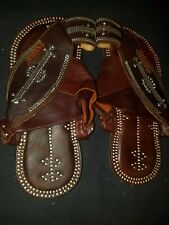 Vintage Traditional Gulf Arabian Saudi Sandals Brown with Silver Camel Leather