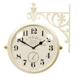 Antique Modern Double Sided Wall Clock Home Decor Station Clock Gift - M195IVAN