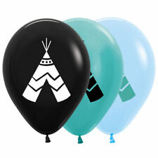 Teepee BLACK ONLY 30cm Latex Balloons 6pk Boho Wild One Tribal Birthday Party