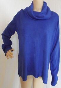 Roz Ali Petite Medium Royal Blue Long Tunic Cowl Neck Soft & Cozy Sweater mp pm