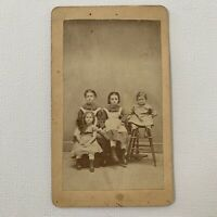 Antique CDV Cabinet Card Photograph Beautiful Victorian Children Family ID Rupel