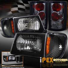 1995-2006 Ford Econoline Van E-Series Black Headlight + Corner +Smoke Tail Light