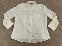 Basque City Womens White Button Up Top Size 18 Long Sleeve Business Shirt