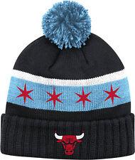 Chicago Bulls Black Beanie Youth (8-20) Knit Chicago Flag W/ Pom Adidas