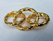 Estate Gold Tone Three Intertwined Entwined Twisted Circle Pin Brooch