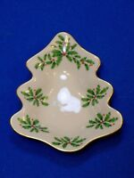 Lenox Holiday Holly and Berry Christmas Tree Serving Dish Gold Trim Candy Tray