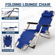 Reclining Sun Beach Deck Lounge Chair Outdoor Folding Camping Fishing Arm Rest B
