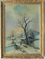 19th c. O/C Winter Landscape Scene Signed Illegibly