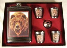 WILD GRIZZLY BEAR FLASK GIFT SET four shot glasses funnel DRINKING HIP whisky