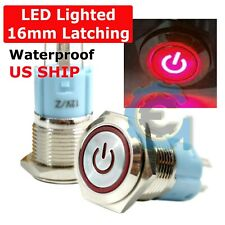 16mm Waterproof Power Push Button Latching Switch With 12v Red Led Head