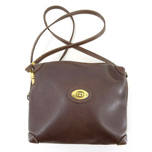 GUCCI 90's Vintage All Leather Small Shoulder Bag in Brown - Made in Italy Y2K
