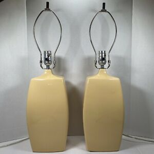 Pair Of Mid Century Modern Haeger Potteries USA Pale Yellow Table Lamps Ceramic