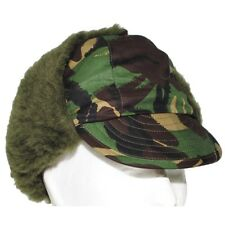 NEW DPM CAMO TRAPPER CAP WINTER BRITISH ARMY GB FAUX FUR SMALL PEAK WOODLAND CAP