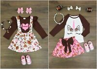 NEW Boutique Unicorn Football Supspender Skirt Long Sleeve Shirt Girl Outfit Set