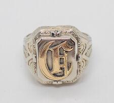 Mens Antique Gothic Revival Swivel Signet Ring Ruby 14k White Gold 9.2g Size 8