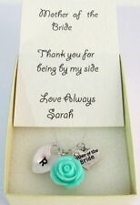 Mother of the Bride,Groom Personalized Necklace withThank you card
