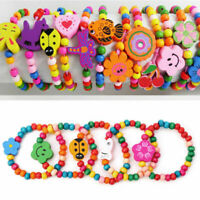 12pcs Mixed Kids Girls Wooden Elastic Bead Bracelets Favor Jewelry Wholesale