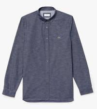 Lacoste Men's Slim Fit Print Poplin Shirt Navy Blue Small (38) Brand New RRP£100
