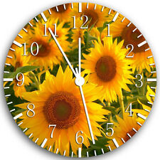 """Sun Flowers wall Clock 10"""" will be nice Gift and Room wall Decor X19"""