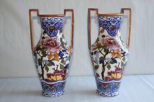 Paire de vases amphores anciens en faïence de Gien décor Pivoines H 28 cm