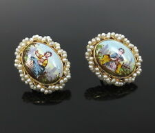 Antique Painted Porcelain & Natural Pearl 14K Yellow Gold Earrings