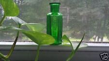 "Vintage Olive Green Hexagonal ""NOT TO BE TAKEN"" Poison Glass Bottle # J-3038"