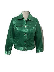 Chico's Women's Satin Bomber Jacket Kelly Green Button Jean Jacket Style Size 0