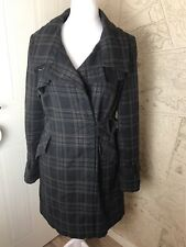 Top Shop Size 14 Brown Check Winter Coat