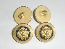 6 Stück Knöpfe Knopf Ösenknopf Löwenkopf  ABS 18 mm gold/blau NEU 0250