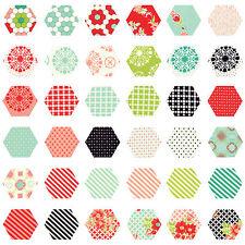 252 Fabric Hexagons - diecut from a Moda Layer Cake - Handmade by Bonnie Camille