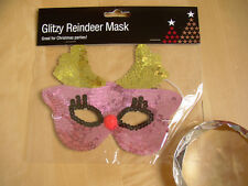Pink Sequin Red nose Reindeer eye mask Hen night Party fancy dress Children Lady