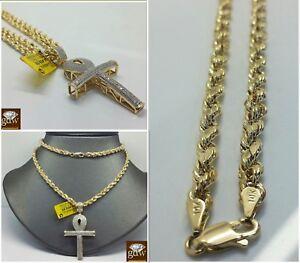Real 10k Yellow Gold & Diamond Ankh Cross Charm/Pendant, 10K Rope Chain, Mens