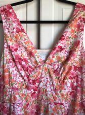 Garnet Hill Size 12 Women's Pink Floral Sleeveless Cotton Summer Sundress EUC