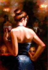 ZOPT630 girl dreing red wine in bar hand paint oil painting home art on canvas