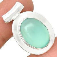Aqua Chalcedony 925 Sterling Silver Pendant Jewelry AQCP588