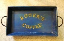 Vintage Blue Wood Tray Wall Hanging Cast Iron Handles Roger's Coffee Sign