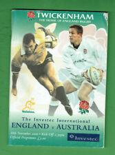 #Kk. Rugby Union Program - 18/11 2000, England V Australia
