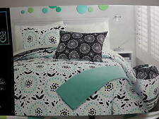 7 pcs Cynthia Rowley Full Duvet Set & Sheet Set  Black Aqua Green Dots & Flower